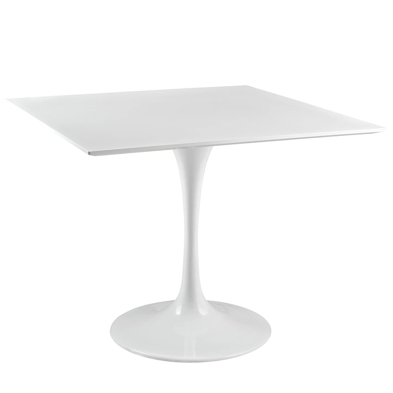 Modway Lippa 36 Mid-Century Modern Kitchen and Dining Table with Square Top and Pedestal Base in White