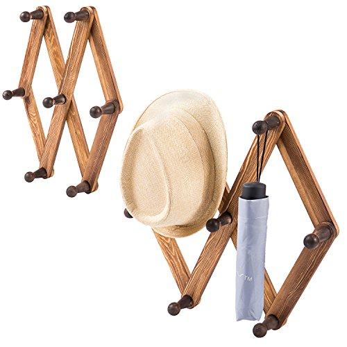 MyGift Expandable Burnt Wood Accordion Style 7-Peg Coat & Hat Rack, Set of 2