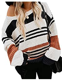 Women's Long Sleeve Crew Neck Striped Color Block Casual Loose Knitted Pullover Sweater Tops