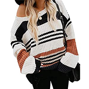 ZESICA Women's Long Sleeve Crew Neck Striped Color Block Casual Loose Knitted Pullover Sweater Tops