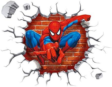Spiderman 3d Cracked Children Themed Art Boy Room Wall Sticker