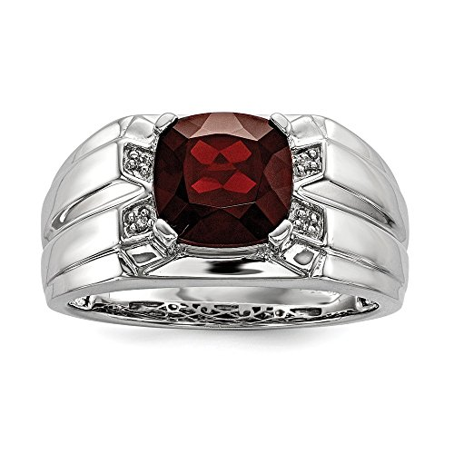 Cushion Cut Garnet & .02 cttw (H-I Color, I2-I3 Clarity) Diamond Tapered Ring in Sterling Silver Size 11