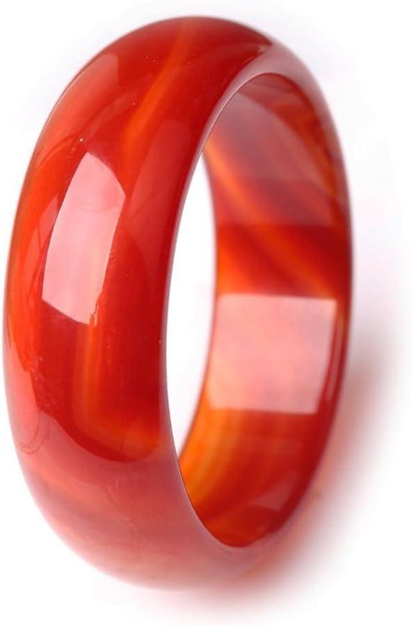 wuligeya - Pulsera de ágata roja natural extendida y gruesa, modelo Jade, Widened Thickening, 62-64mm
