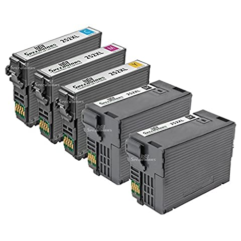 Speedy Inks - Remanufactured Set of 5 Ink Cartridges for Epson T252XL Series 2x T252XL120 Black, 1x T252XL220 Cyan, 1x T252XL320 Magenta, & 1x T252XL420 Yellow for use in WF-3620, WF-3640, (Epson Ink For Wf3620)