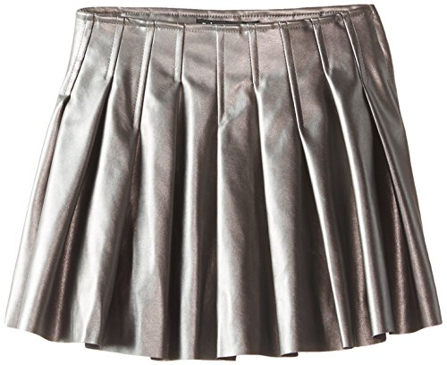 Stitched Leather Skirt (Biscotti Big Girls' Pleather Skirt, Pewter, 7)