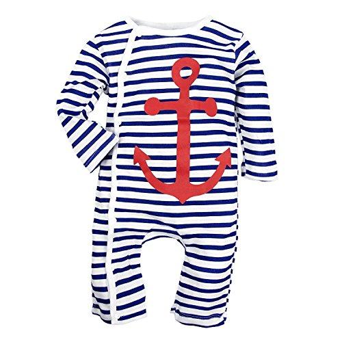 LUKYCILD Baby Boy Stripe Romper Cotton Sailor Anchor Jumpsuit
