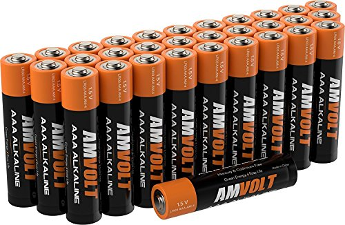 28 Pack AmVolt AAA Batteries [10 YEAR LIFE] Premium LR3 Alkaline Battery 1.5 Volt Non Rechargeable Batteries for Watches Clocks Remotes Games Controllers Toys AAA-Batteries – 2027 Expiry Date