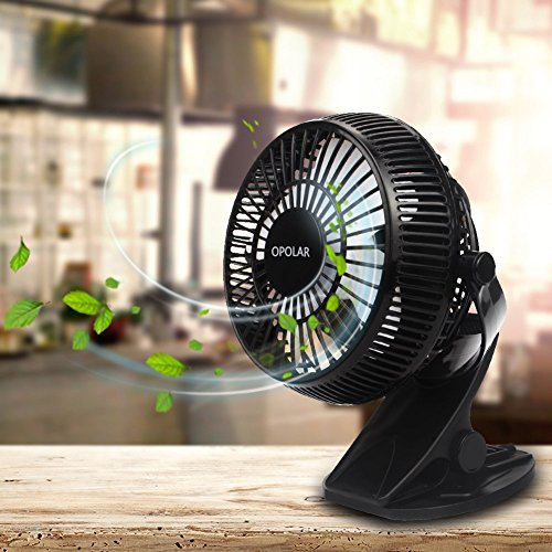 USB & Battery Powered Desktop Clip Fan Low Noise 360 Angles Rotating Personal Table Fan w/ 80CM USB Cable,Suitable for Home, Bedroom, Dormitory,Office,Outdoor Activies, Adjustable Speed by BXT (Image #2)