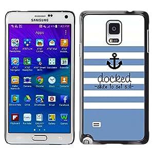 LECELL--Funda protectora / Cubierta / Piel For Samsung Galaxy Note 4 SM-N910 -- Blue White Stripes Lines Sea Ship --