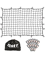 """4'x6' Large Truck Cargo Net with 24pcs Aluminium Hooks, Stretches to 8'x12' Trailer Truck Bed Pickup Cargo Net, 4""""x4"""" Small Mesh, 1/5"""" Dia Thick Latex Bungee Cords"""