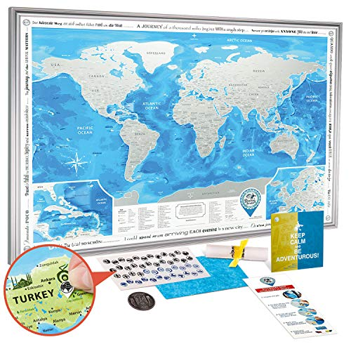 Scratch Off World Map Poster Framed - Large Detailed Scratch Off Map of The World 35x25 with Silver Frame - Award Winning Premium Travel Map Scratch Off with USA/Canada States - Discovery Map