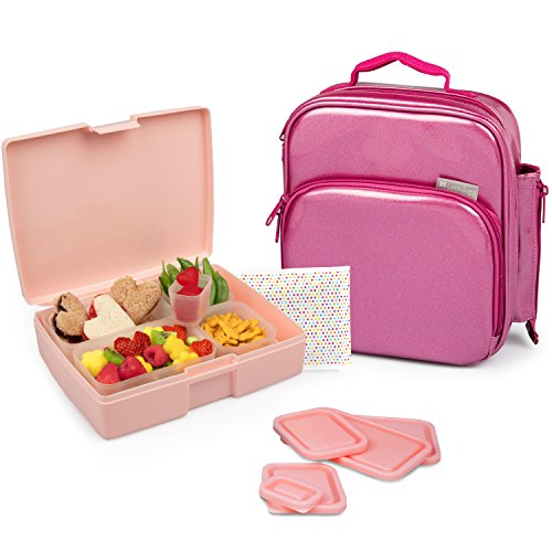(Bentology Lunch Bag and Box Set for Girls - Includes Insulated Durable Tote Bag with Handle and bottle holder, Bento Box, 5 Containers and Ice Pack - BPA & PVC Free (Pink Metallic))