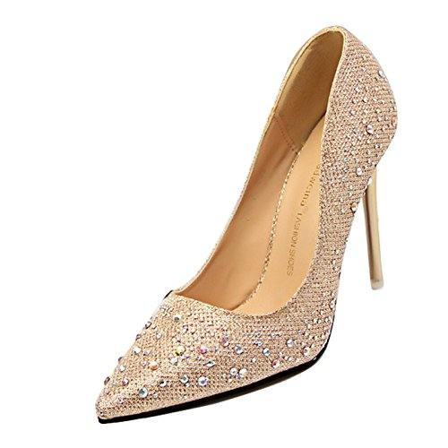 high heel stiletto womens pointed Ladies sparkly prom toe party diamante shoes Gold 1qnFd