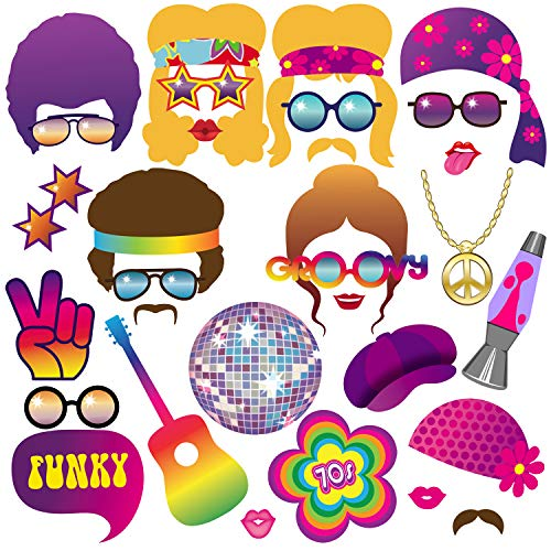 70s Photo Booth Props, BizoeRade 31pcs 1970s Theme Party Props for Disco Party Decorations, 70's Party Favors Supplies for Hippie Party, Disco Fever -