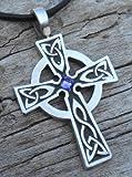Pewter Celtic Cross Irish Wales Pendant on Leather w/ Swarovski Crystal Lavender June Birthday