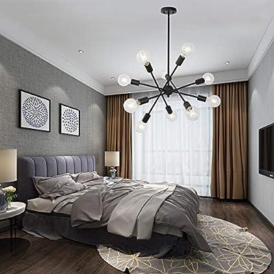 Sputnik Chandelier Lighting Brushed Nickel Mid Century Modern Pendant Ceiling Light Fixture by BONLICHT