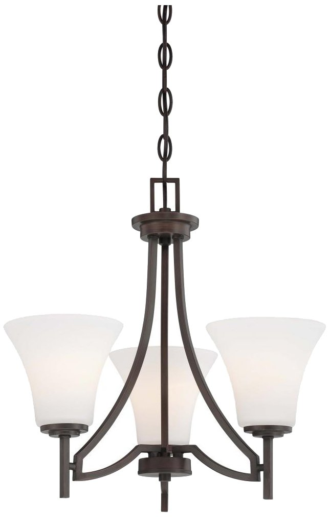Minka Lavery Chandelier Lighting 4933-284, Middlebrook Glass with Shades, 3 Light, Vintage Bronze by Minka Lavery