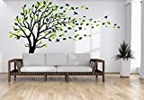 Large Tree Blowing in The Wind Tree Wall Decals Wall Sticker Vinyl Art Kids Rooms Teen Girls Boys Wallpaper Murals Sticker Wall Stickers Nursery Decor Nursery Decals (Black and Green,Right)