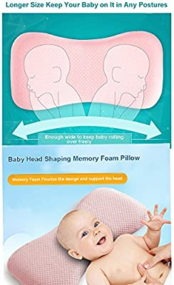 0-2 Years Old New Born Baby Head-shaping Memory Foam Pillow for Flat Head Infant Wide Anti-roll Neck Pillow Prevent Flat Head Syndrome,Bald /& Night Crying /£/¬Baby Sleep Pillow CompuClever Blue