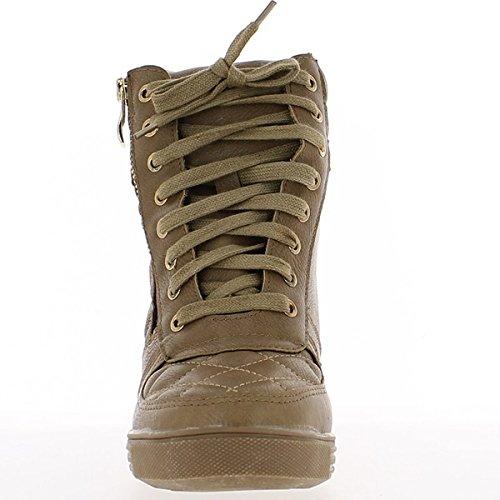 Nascente taupe di sneakers zeppa trapuntato a tacco 7,5 cm