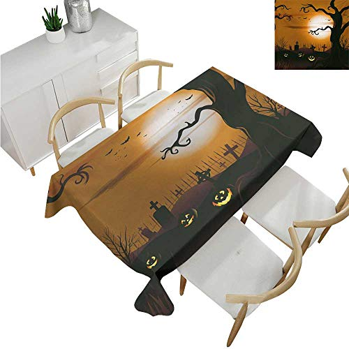 (familytaste Halloween,Tablecovers Rectangular,Leafless Creepy Tree with Twiggy Branches at Night in Cemetery Graphic Drawing,Table Cloth Cover Wedding Event Party 60