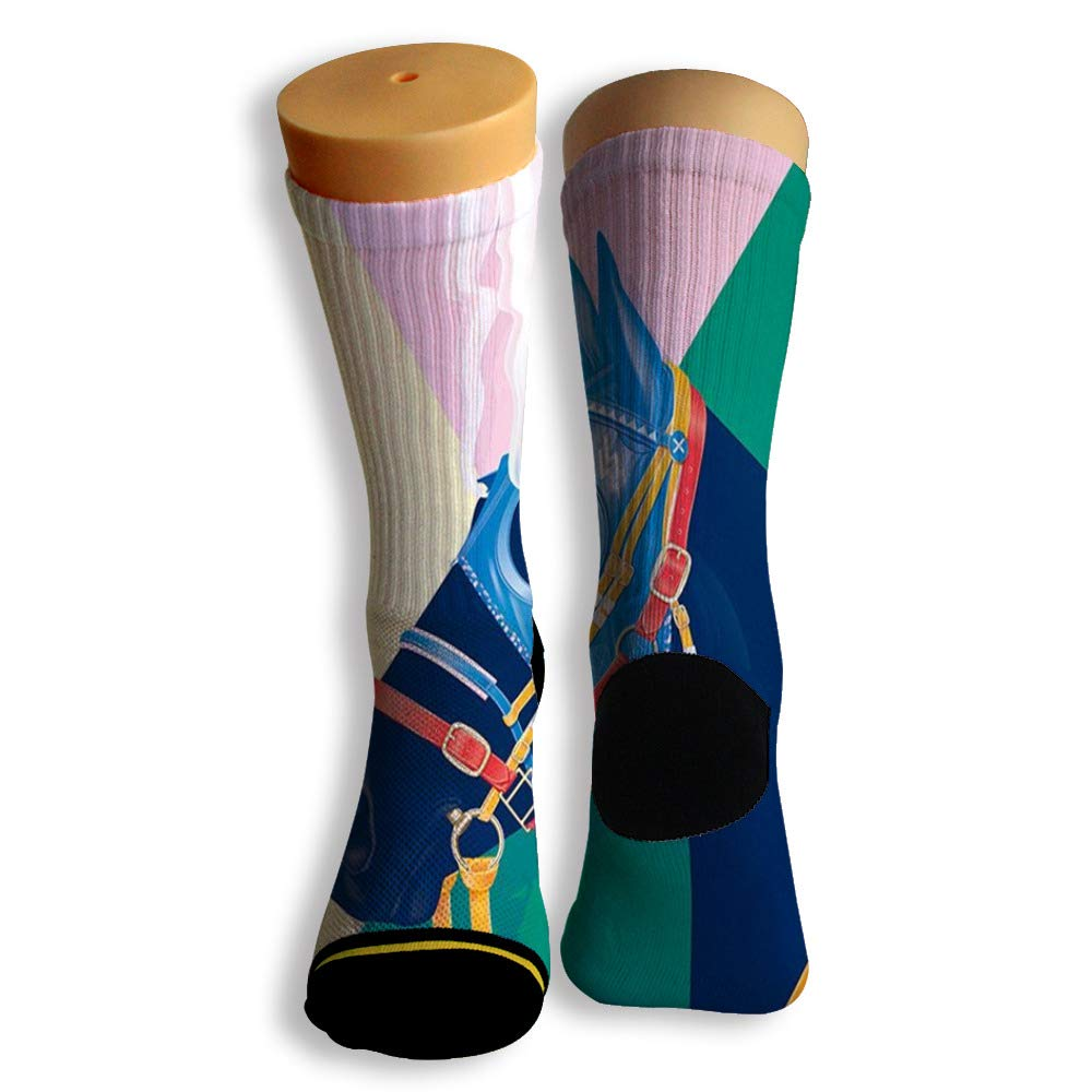 Basketball Soccer Baseball Socks by Potooy Wild Horses Illustrations 3D Print Cushion Athletic Crew Socks for Men Women