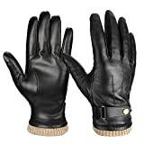Men's Nappa Leather Winter Gloves, Cold proof Warm Glove for Driving