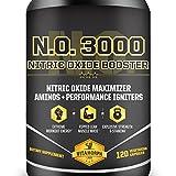 N.O. 3000 Nitric Oxide Booster For Lean Muscle Mass & Pumps | L-Norvaline, Grapeseed, L-Citrulline Malate, L-Arginine, B-Vitamins | 100% Money-Back Guarantee | 120 Vegetarian Capsules