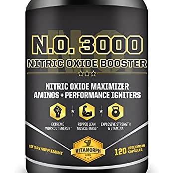 Vitamorph Labs N.O. 3000 Nitric Oxide Booster for Lean Muscle Mass and Pumps L-Norvaline, Grapeseed, L-Citrulline Malate, L-Arginine, B-Vitamins, 120 Vegetarian Capsules