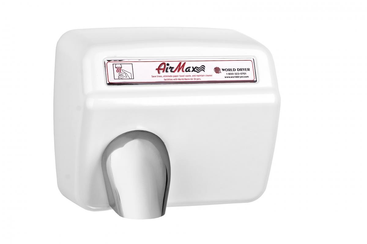 World Dryer DXM5-974 AirMax High Speed and Heavy Duty Hand Dryers, Automatic, 110-120V, Steel White