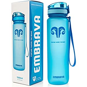 Embrava Best Sports Water Bottle – 32oz Large – Fast Flow, Flip Top Leak Proof Lid w/One Click Open – Non-Toxic BPA Free & Eco-Friendly Tritan Co-Polyester Plastic