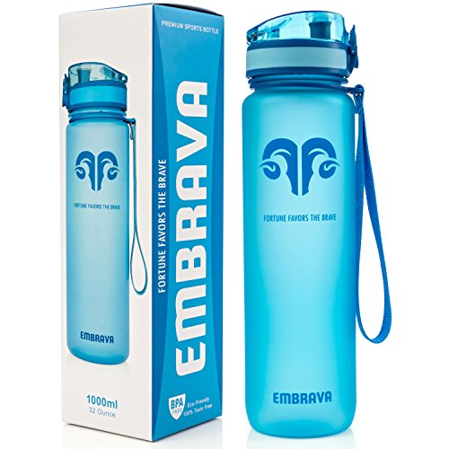 Best Sports Water Bottle - 32oz Large - Fast Flow, Flip Top Leak Proof Lid w/ One Click Open - Non-Toxic BPA Free & Eco-Friendly Tritan Co-Polyester Plastic (BLUE) (Plastic Bottle Water)