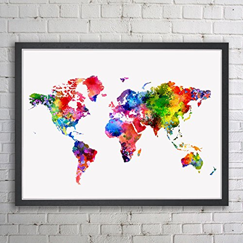 Amazon world map art print watercolor poster wall art world map world map art print watercolor poster wall art world map inspiration map colorful print painting wall gumiabroncs Choice Image