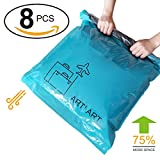"""Space Saver Travel Storage Bags Reusable Vacuum Bag Saving Space for Travelling or Home Compress Roll-Up No Extra Vacuum or Pump Needed (8-Packs) (8, 28""""20""""+24'16')"""