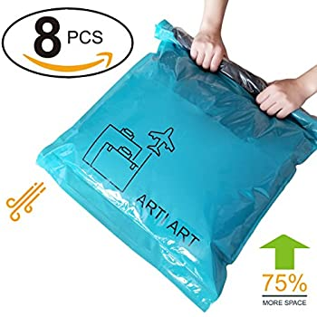 "Space Saver Travel Storage Bags Reusable Vacuum Bag Saving Space for Travelling or Home Compress Roll-Up No Extra Vacuum or Pump Needed (8-Packs) (8, 28""20""+24""16"")"