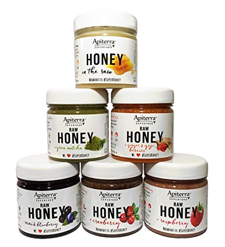 Apiterra HONEY Gift set with Superfoods - 6 Jars Variety Pack, 48 Ounce, Healthy Jam & Jelly Gift