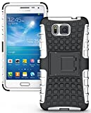 Heartly Flip Kick Stand Spider Hard Dual Rugged Armor Hybrid Bumper Back Case Cover For Samsung Galaxy Alpha 4G SM-G850FQ - Best White