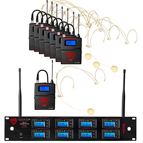 Nady 8W-1KU HM-10 Beige Octo True Diversity 1000-Channel Professional UHF Wireless System with 8 Headset Microphones - AutoScan - Automatic Transmitter Pairing - All Metal Construction ()