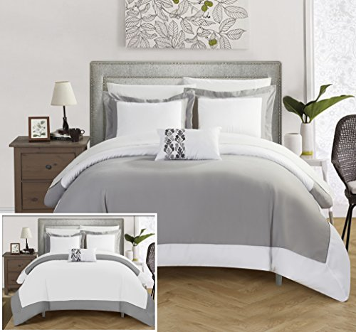 Chic Home 8 Piece Wynn MODERN TWO TONE REVERSIBLE HOTEL COLLECTION, with embellished borders and embroidery decor pillow Queen Bed In a Bag Duvet Set Grey With White Sheets included