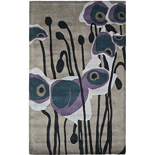 Safavieh Soho Collection SOH853A Handmade Abstract Grey and Blue Premium Wool Area Rug (6' x 9') Soho Living Room