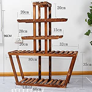 Antiseptic solid wood flower stands balcony multi-layer wooden flowerpot frame floor racks-A