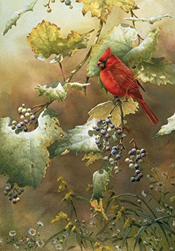 Toland Home Garden Early Light 12.5 x 18 Inch Decorative Red Cardinal Bird Berry Tree Leaf Garden Flag