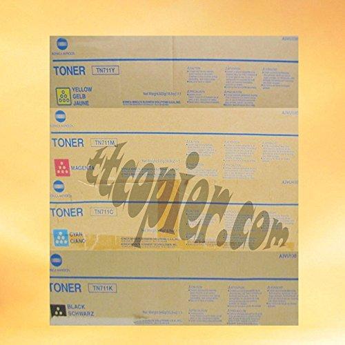Konica Minolta Part# TN-711K. TN-711C. TN-711M. TN-711Y Toner Cartridge Set (OEM)