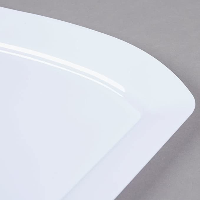 Pack de 10 - Elegante plato de plástico duro ondulado rectangular para servir/bandeja/plato - 10 x 13,5 pulgadas (25 x 35 cm) - blanco: Amazon.es: Hogar