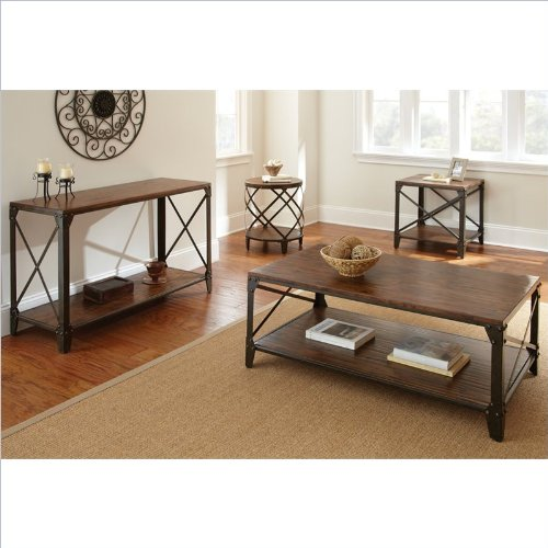 Steve Silver Company Winston 3 Piece Cocktail Table Set in Distressed Tobacco and Antiqued Metal