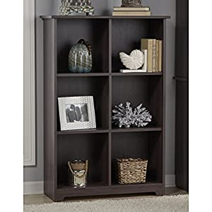 Bush Furniture Cabot Collection 6 Cube Bookcase in Heather Gray