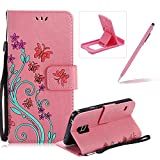 Strap Case for Samsung Galaxy S7,Smart Leather Cover for Samsung Galaxy S7,Herzzer Stylish Butterfly Flower Design Wallet Folio Case Full Body PU Leather Protective Stand Cover with Inner Soft Silicone Shell for Samsung Galaxy S7 + 1 x Free Pink Cellphone Kickstand + 1 x Free Pink Stylus Pen - Pink