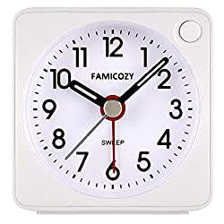 FAMICOZY Mini Size Alarm Clock, Quiet Non Ticking Travel Alarm Clock with Snooze and Nightlight,Gradually Increasing in Volume,Lightweight Analog Quartz Clock,Battery Operated,White