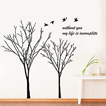 Bird Tree Wall Art Sticker With Quotes Without You My Life Is