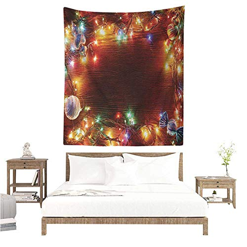 - Christmas Wall Tapestry for Bedroom Fairy on Wooden Rustic Pine Tree with Ornaments and Sweet Candy Lollies Print Home Decorations for Bedroom Dorm Decor 54W x 72L INCH Multicolor